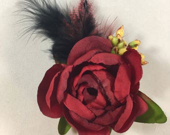 Bernie's Brilliant Hair Fascinator with Rose/Hair Clip/Pin Up Hair Accessory/Feathers