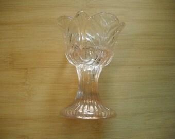 Vintage Light Pink Glass Candle Holder