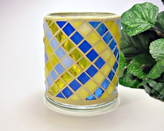 Stained glass mosaic votive candle holder yellow blue
