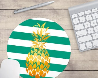 Teal Gold Foil Pineapple Mouse Pad, Glitz Mouse Pad, Teal and White Stripes Mouse Pad, Personalized Mouse Pad, Name On Mouse Pad (0079)