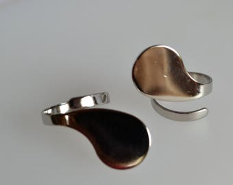Support ring adjustable silver metal original