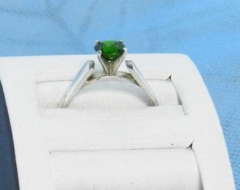 Green Tourmaline Ring - Sterling Silver Ring - Solitare Ring - Green Stone Ring - Engagement Ring - Green Stone Ring - Solitaire Ring    #13