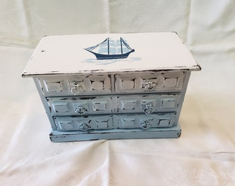 Hand Painted Vintage Ombre Jewelry Box with Sail Boat Stencil