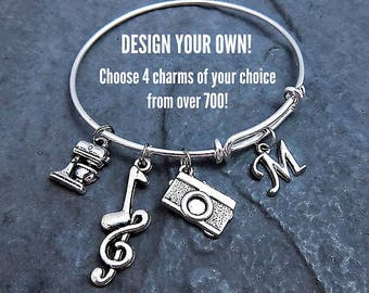 Custom Charm Bracelet - Personalized - Expandable Bangle - Customize your own - Choose up to 4 charms - Affordable Jewelry - Gift for Her