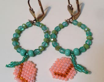 Peach earrings with turquoise and crystal