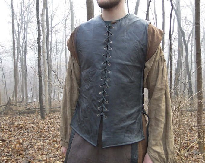 Custom Medieval Leather Tunic / Shirt, Lace up Front and Sides, Sleeveless, Choose Color & Size