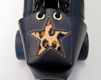 Leather Skate Toe Guards with Leopard Print Star