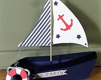 Sailboat Snack Holder/Nautical Prop with Life Preserver