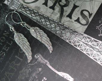 Rhinestone wing earrings, Wing earrings, Silver rhinestone earrings, Wing jewelry,  Bling earrings, Statement earrings, Wing pendant