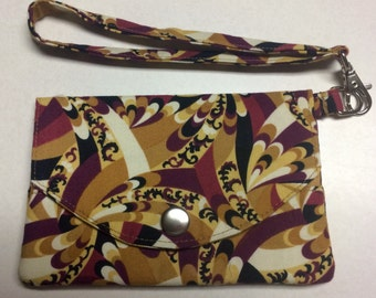 Gold & Burgandy Floral Fabric Wallet / Wristlet / Clutch