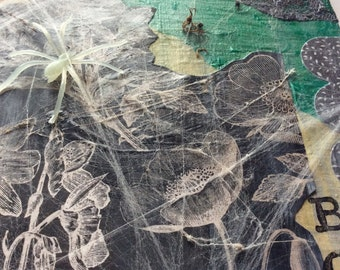 Halloween. Mixed media collage.Spiders, witches, bats.Australian timber artwork.