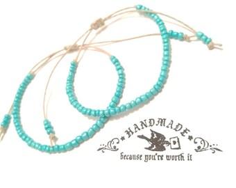Couples Turquoise Beaded Hemp Bracelet Handmade, Hemp Anklet, Turquoise Ankle Bracelet, Handmade, Jewelry, Adjustable Bracelet, Hemp Anklet.