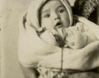 vintage photo 1922 out of frame Flapper Hidden Mom Holds Baby Gem Miniature