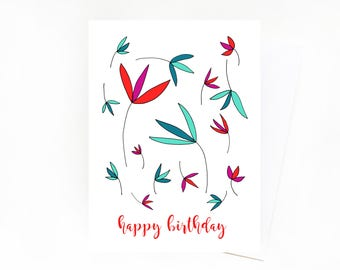 Happy Birthday Greeting Card, Teal, Red and Magenta Birthday Card, Cheery Birthday Card, Botanical Birthday Card