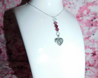 Pink bead heart charm necklace/pink bead necklace/heart charm necklace/heart necklace/silver necklace/silver heart necklace/handmade/gift