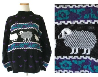 Sheep Sweater Novelty Sweater 80s Pullover Crew Neck Oversize 1980s Jumper Size Large L Acrylic Heart Print Black Purple Teal White