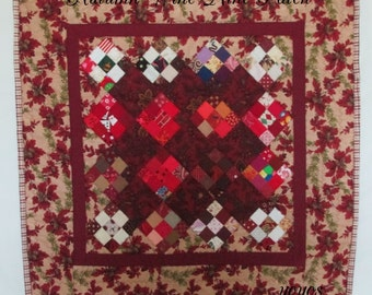 MINI QUILT, Wall Hanging, Table Square, Burgundy Wine,  Patchwork,  Autumn,  Acorns,  Home  Decor, Shabby Chic, Cottage, Holiday Décor