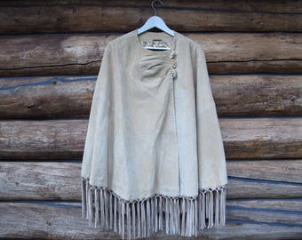 Suede Fringe Poncho Womens Fringe Suede Jacket Camel Suede 60s 70s Leather Poncho Shawl Fashion Tan Suede Boho Hippy