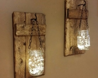 Rustic  Decor, candle holders, hanging Mason jars With Lights, sconces, Mason Jar  Firefly lights, Rustic sconces , Set of Candleholders
