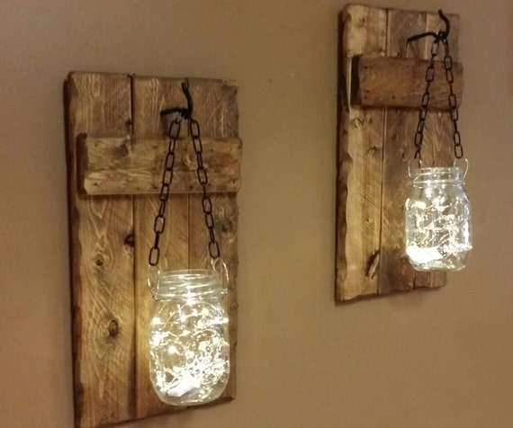 Rustic decor candle holders hanging mason jars with lights for Hanging lights made from mason jars