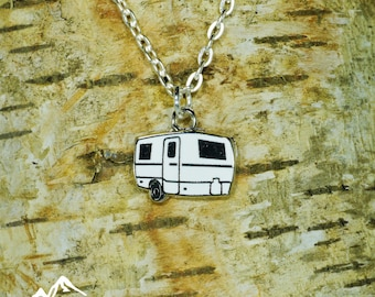 Trillium Necklace, Escape Trailer Necklace, Vintage Necklace,  Glamping Gift, Camping Accessory, Vintage trailer, Vintage Camper