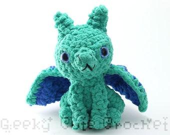 Green and Blue Large Dragon Plush Toy Stuffed Animal Amigurumi Crochet