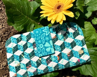 Woven Tbling Blocks Loved to Pieces Floral Print Clutch Wallet magnetic snap closure