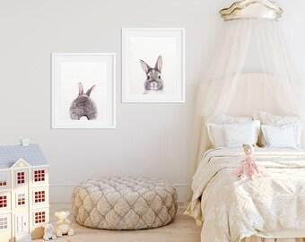 Rabbit Print, Bunny Butt Tail, Set of 2, Woodland Nursery Decor, Baby Animal Prints, Woodland Animals, Nursery Wall Art, Kids Room Printable