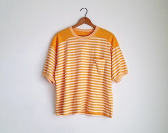 80s striped tshirt 80s vintage t shirt cotton striped tee boxy t-shirts 80s tops women striped pocket tee short sleeve oversized