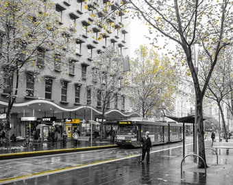 Melbourne, Bourke Street, Selective Color, Winter, Australia, Fine Art Photography