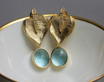 Post Earrings, Gold Earrings, Blue Earrings, Dangle Earrings, Leaf Earrings, CZ, Rhinestone, Fashion Jewelry, Jewellery, Stud Earrings