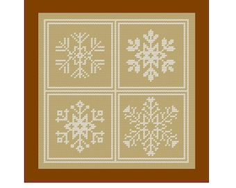 Modern Cross Stitch Pattern snowflakes Sampler Christmas Ornament Winter Holiday DIY Home Decor tree decoration cards great gift