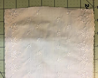 "Vintage off white embroidered eyelet 7"" wide"