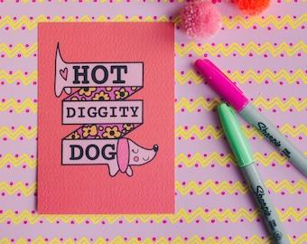 Sausage dog postcard - dachshund - valentines - galentines - hot diggity dog - retro - pink - orange - dog lover