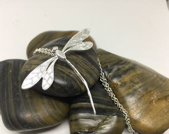 925 Sterling Silver Plated Dragon Fly Necklace