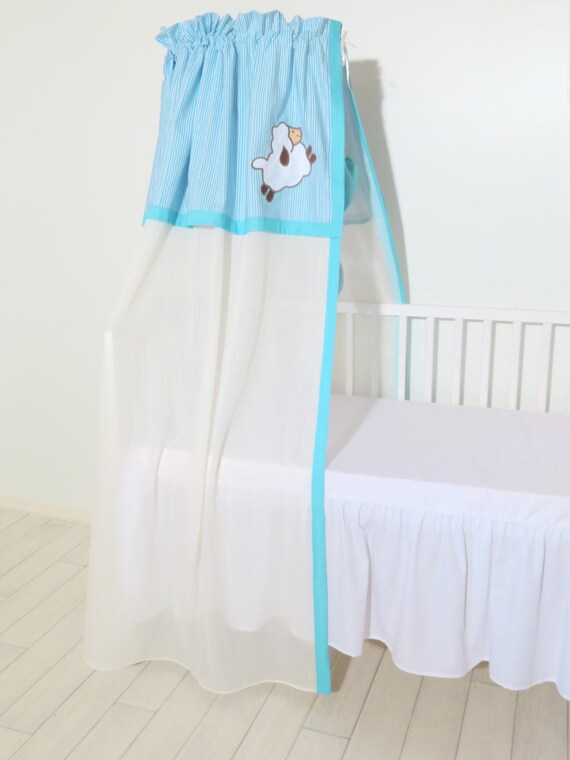 Bed Canopy , Crib Canopy, Custom  Sheep Canopy, Turquoise and White  Lamb Canopy