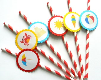 12 Beach Party Straws, Beach Theme, Summer Birthday, Beach Birthday, Pool Party, Beach Party, Ice Cream, Crab, Beach Ball, Party Decor