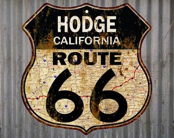 Hodge, California Route 66 Vintage Look Rustic 12X12 Metal Shield Sign S122071