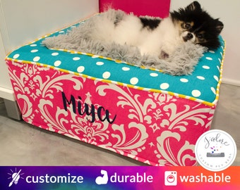 Plush Colorful Dog Bed | Luxury Dog Bed with Soft Blanket | Hot Pink, Turqouise, Yellow, Gray | Choose Your Fabrics & Size