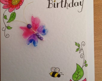 Pink Blue Butterfly Card, Illustrated Birthday Card, Handmade Greeting Card, Blank Inside,Floral Birthday Card.
