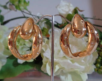 Designer Crystal High Polish Gold Plated Dangle Drop Articulated Clip on Earrings
