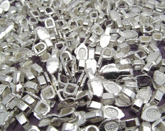 200 Leaf Bails - 16x6mm - Shiny Silver Color - Small Glue On Bails - Scrabble Glass Pendants Scallop Edge Tibetan Bails - 5/8 x 1/4 inch