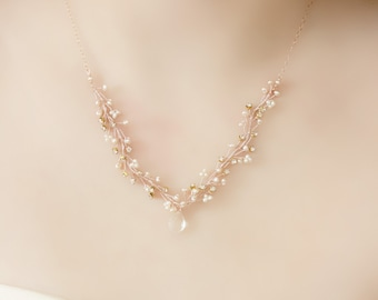 Delicate Bridal Rose Gold Freshwater Pearl, Rhinestone and Crystal Pendant Necklace