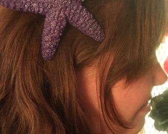 Starfish, purple, purple starfish, ocean, Beach wedding, tropical wedding, bridal, starfish barrette, starfish hair clip, fish, ocean clip
