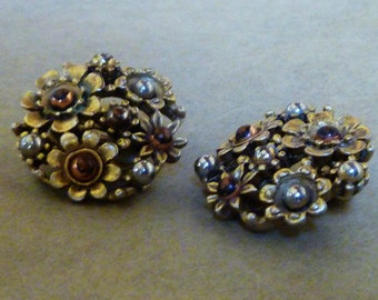 vintage Floral EARRINGs, clip-on, multiple metals