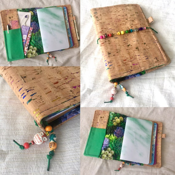 Rainbow cork A5 notebook, natural color with metallic rainbow flecks and succulent fabric accents, several pockets.  Inserts included!