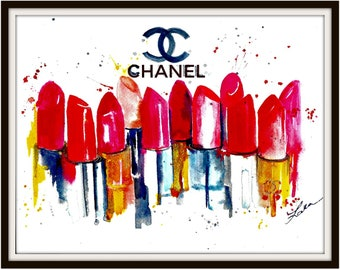 Chanel Lipstick Art Painting - Fashion Watercolor Illustration by Lana Moes - Fragrance of Paris - Chanel Love - Print on Canvas - Wall Art