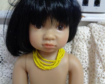5 strands of yellow beaded Doll necklace
