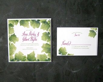 Anne and Gilbert- Watercolor Leaves- Invitation and RSVP