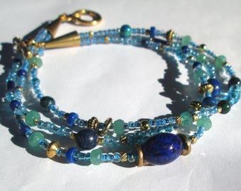 Lapis Lazuli, Azurite, Aventurine, Gold bracelet, multistrand gemstone bracelet